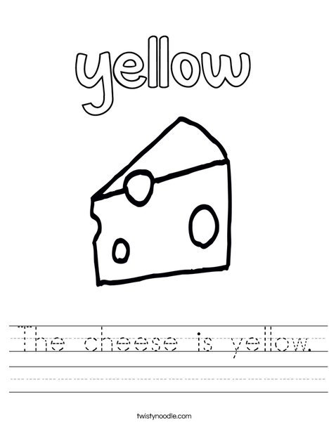 The cheese is yellow. Worksheet