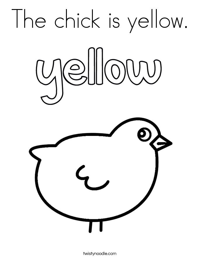 The chick is yellow. Coloring Page