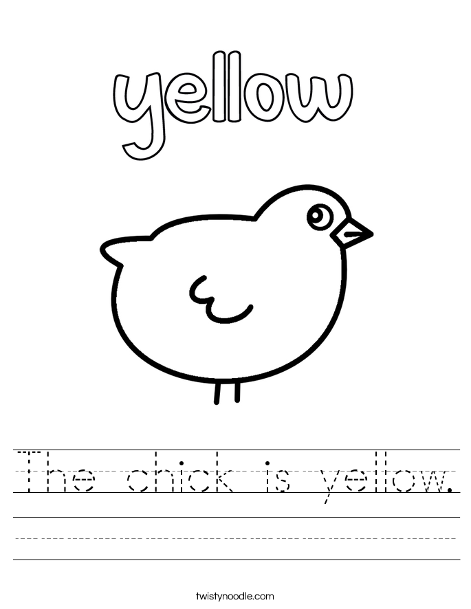 The Chick Is Yellow 7 Worksheet on Handwriting Cursive