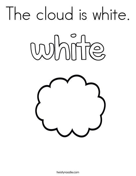 The cloud is white. Coloring Page