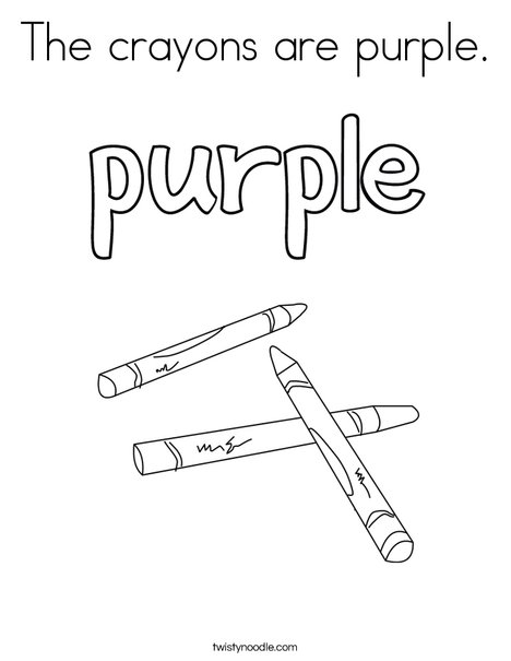 The crayons are purple. Coloring Page