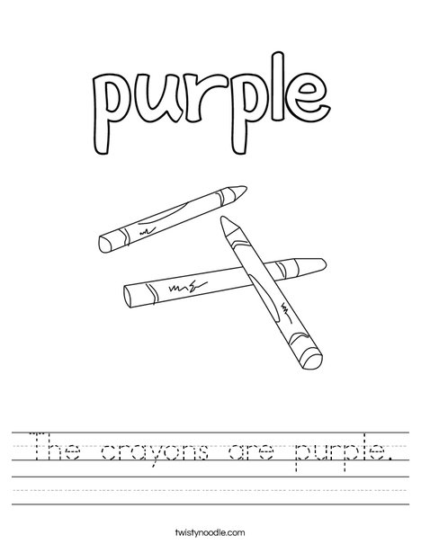 The crayons are purple. Worksheet