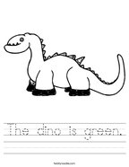 The dino is green Handwriting Sheet