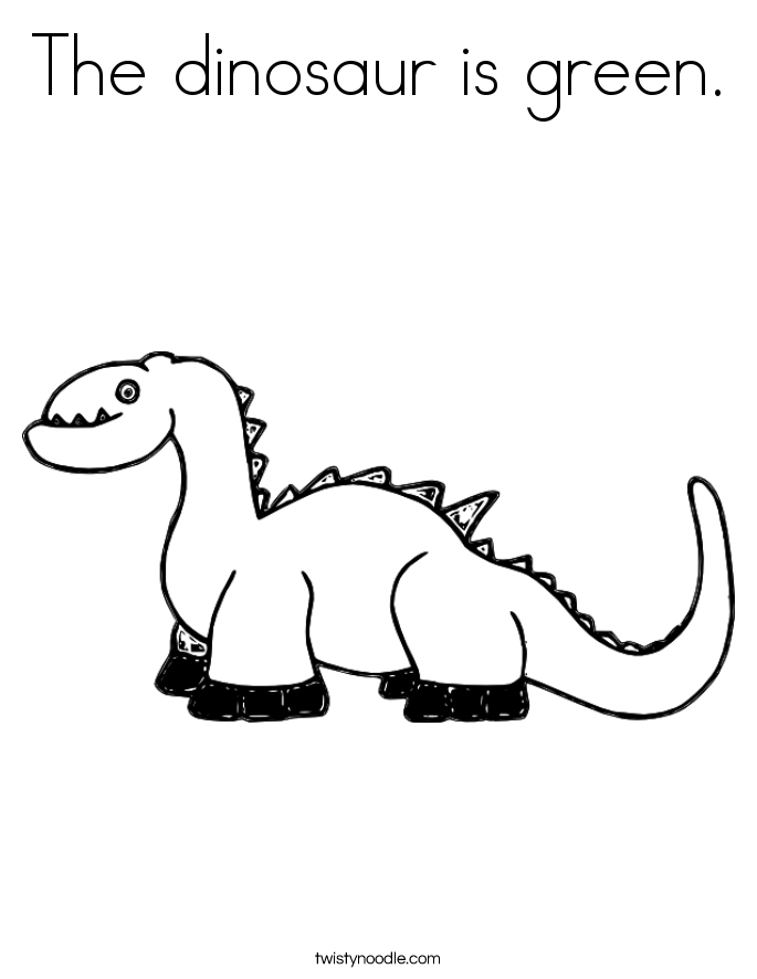 The dinosaur is green. Coloring Page