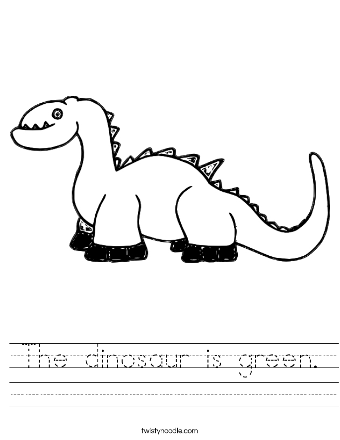 The dinosaur is green. Worksheet