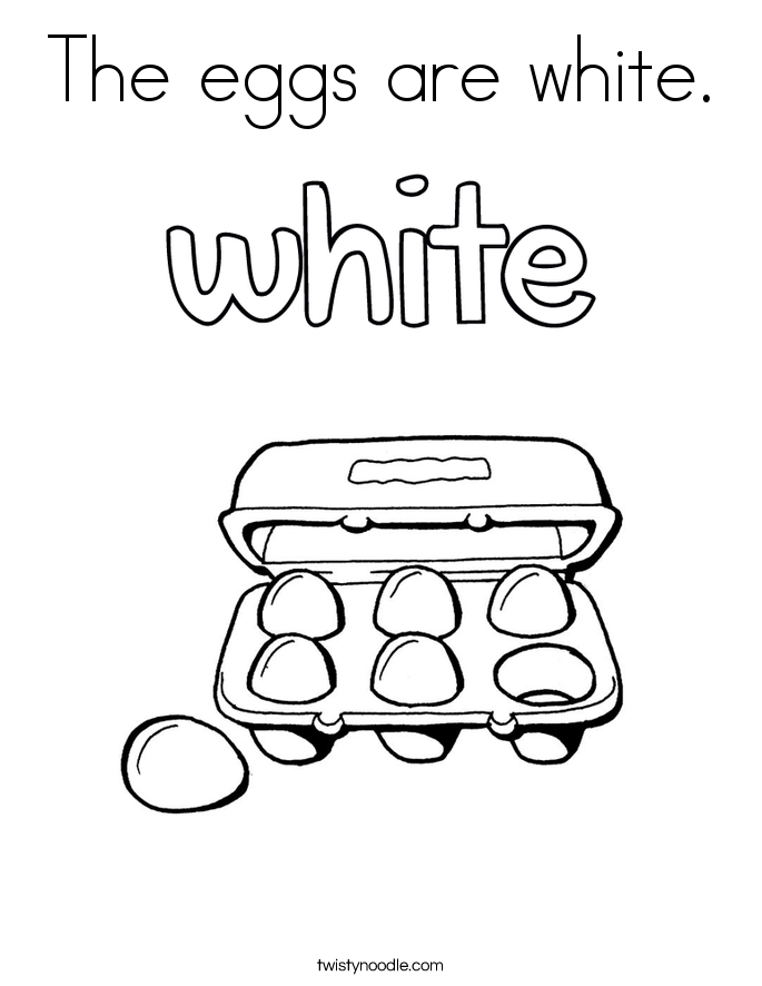 The eggs are white. Coloring Page