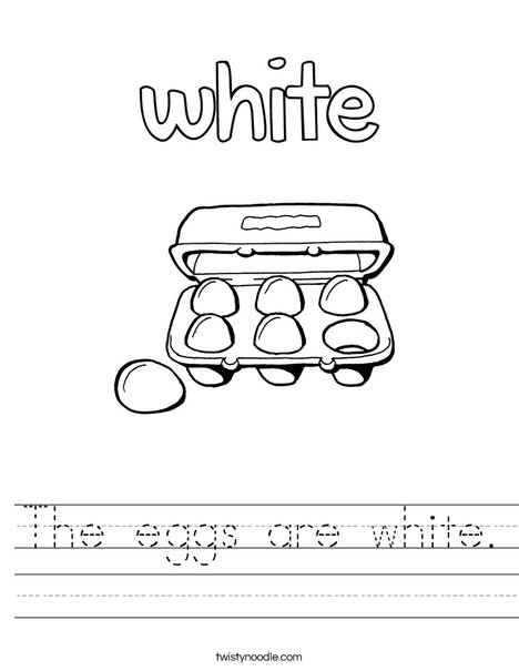 The eggs are white. Worksheet