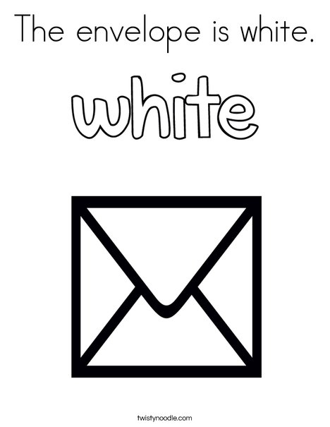 The envelope is white. Coloring Page