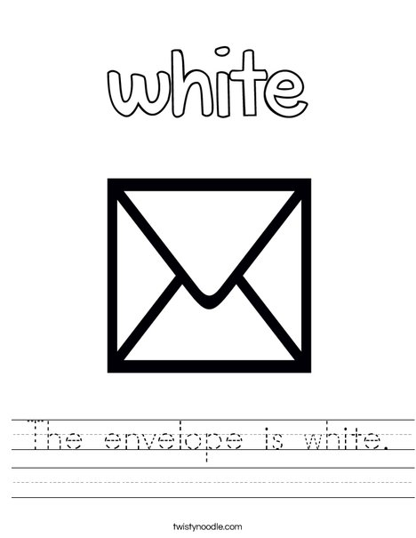 The envelope is white. Worksheet