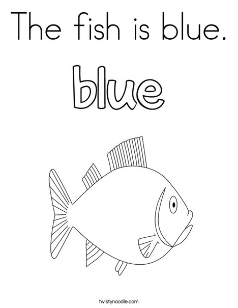 The fish is blue. Coloring Page