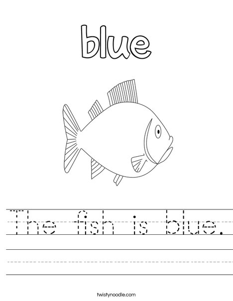 The fish is blue. Worksheet