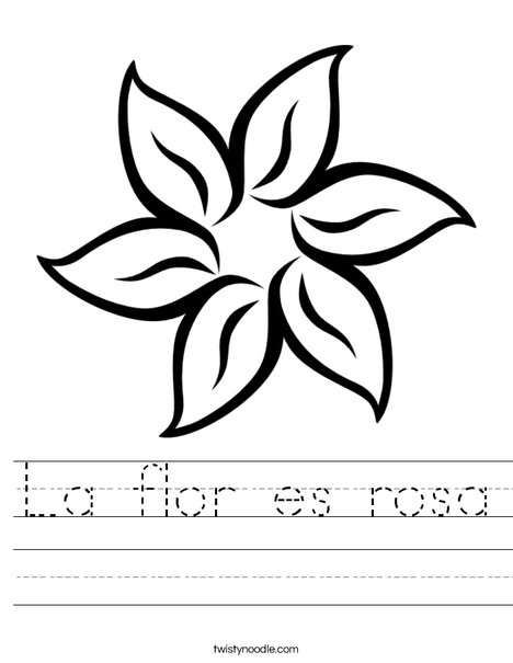 The flower is pink. Worksheet