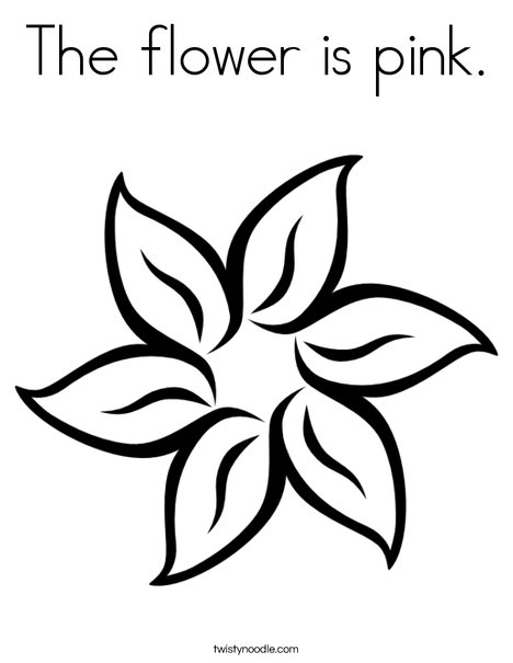 The flower is pink. Coloring Page