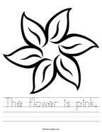 The flower is pink Handwriting Sheet