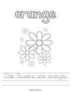 The flowers are orange Handwriting Sheet
