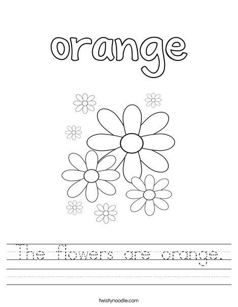 The flowers are orange. Worksheet