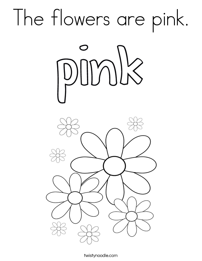 The flowers are pink. Coloring Page
