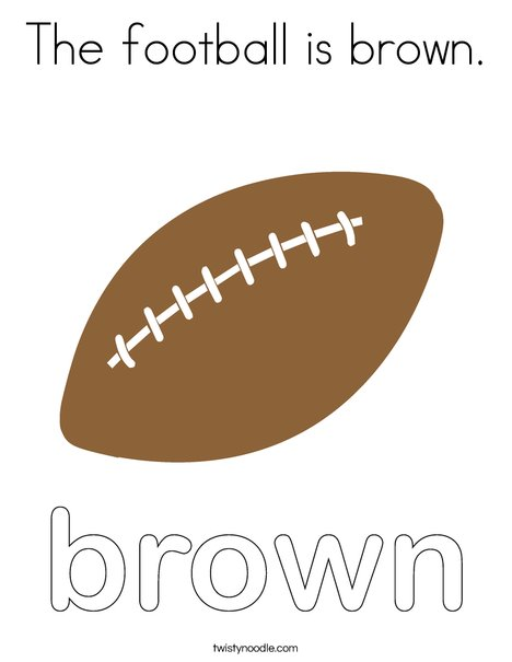 The football is brown. Coloring Page