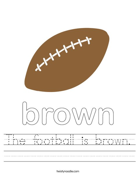 The football is brown. Worksheet