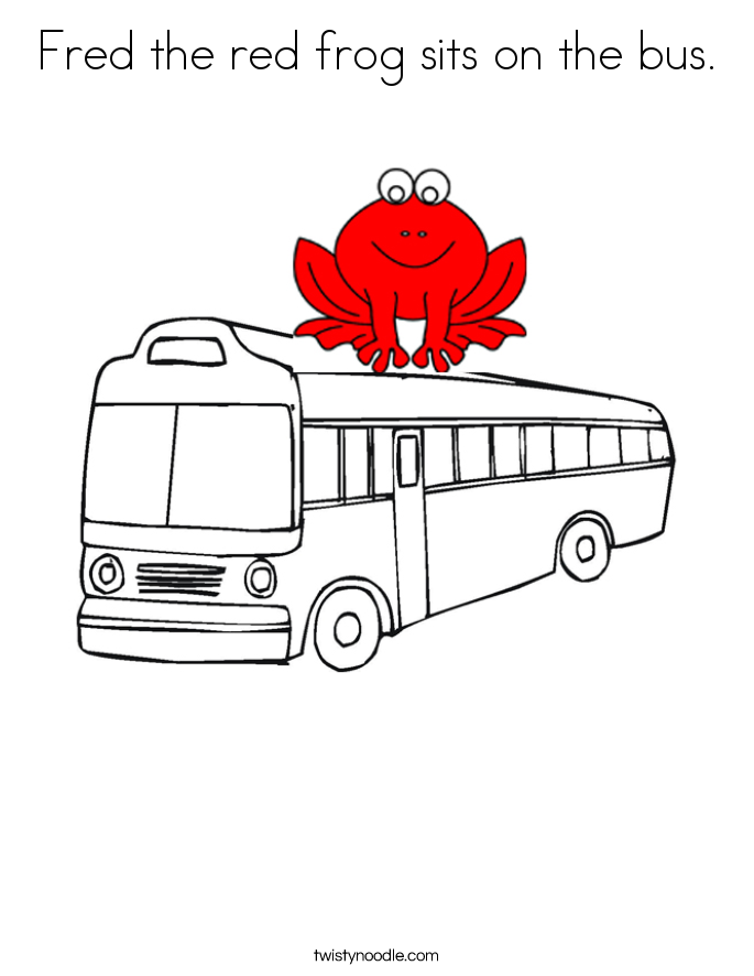 Fred the red frog sits on the bus. Coloring Page