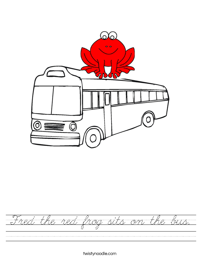 Fred the red frog sits on the bus. Worksheet