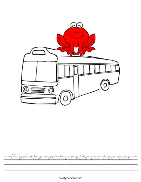 The Frog sits on the bus Worksheet