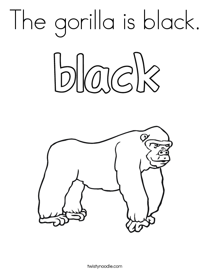 The gorilla is black. Coloring Page