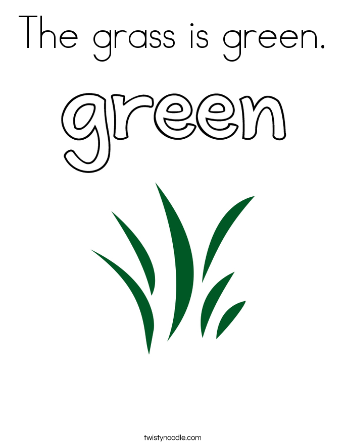 The grass is green. Coloring Page
