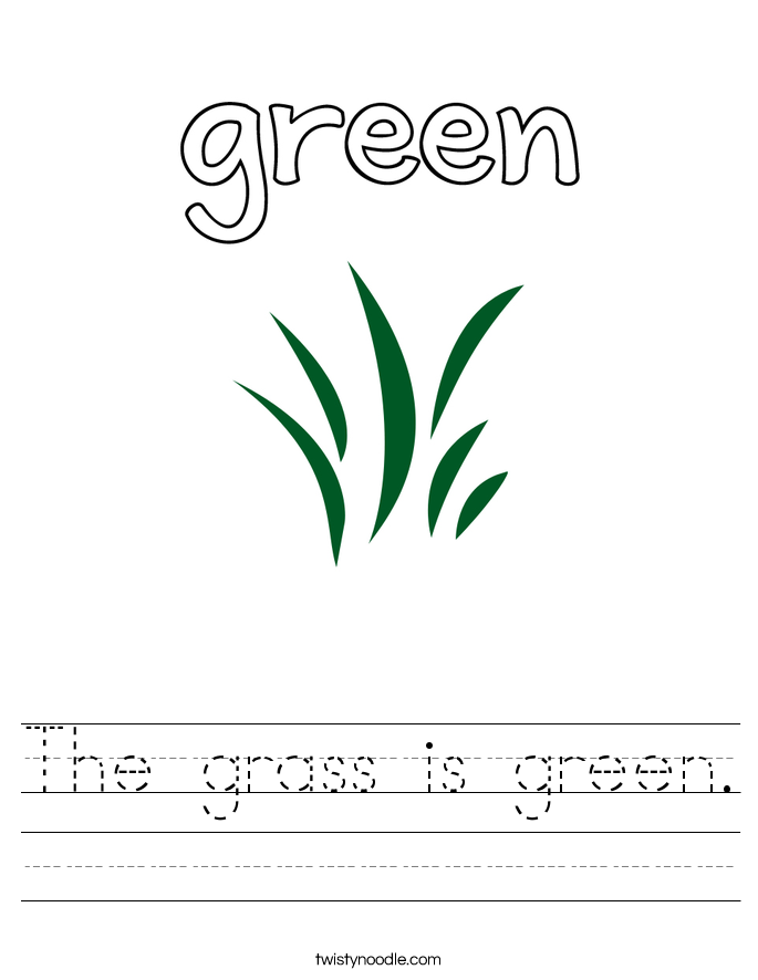 The grass is green. Worksheet