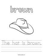 The hat is brown Handwriting Sheet