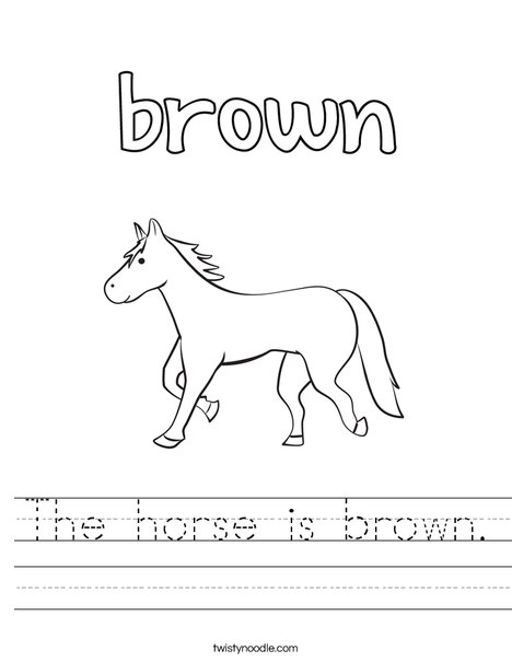 The horse is brown. Worksheet