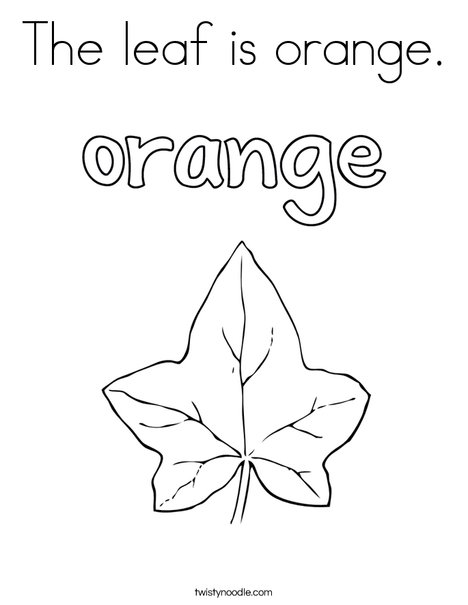 The leaf is orange. Coloring Page