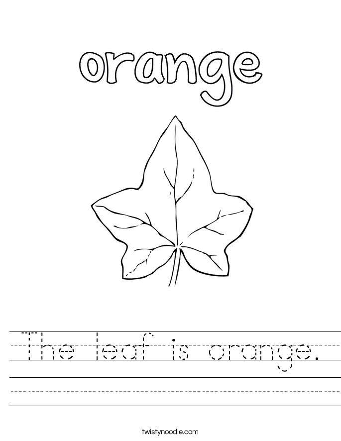 The leaf is orange. Worksheet