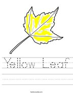 Yellow Leaf Handwriting Sheet