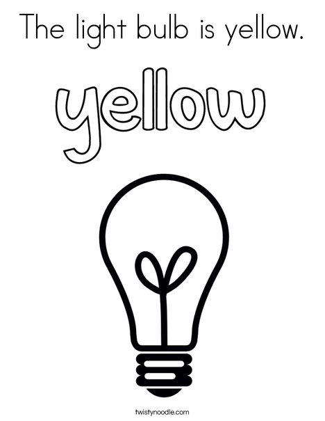 The light bulb is yellow. Coloring Page
