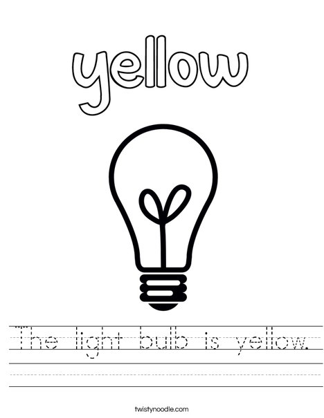 The light bulb is yellow. Worksheet