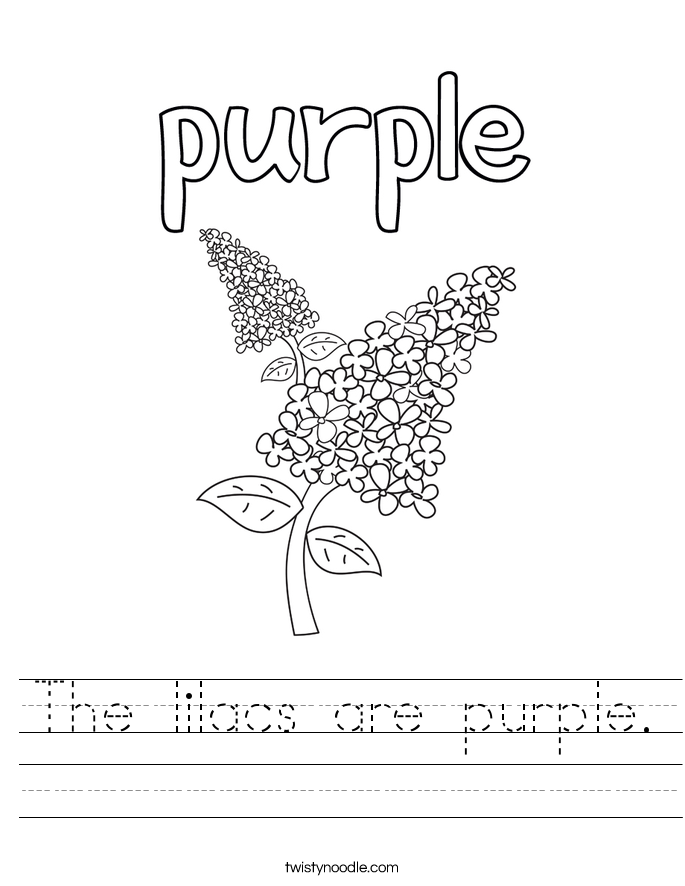 The lilacs are purple. Worksheet