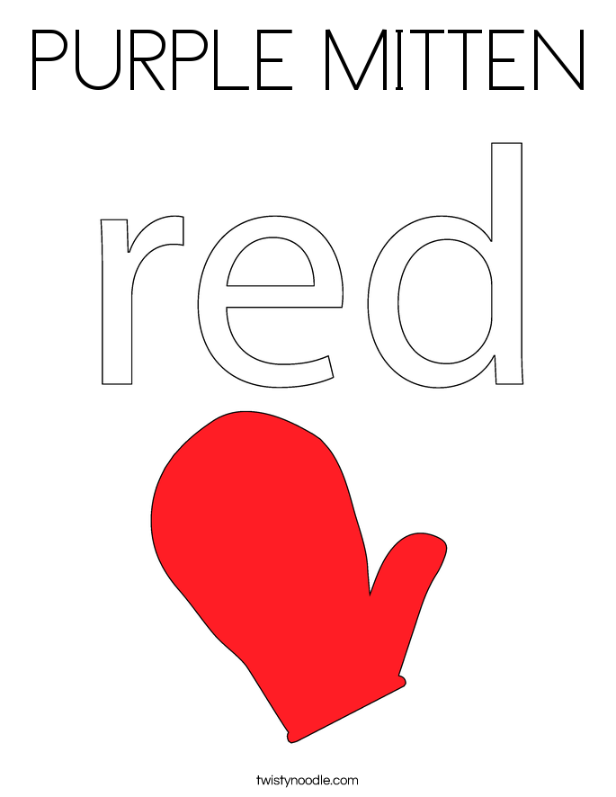 PURPLE MITTEN Coloring Page