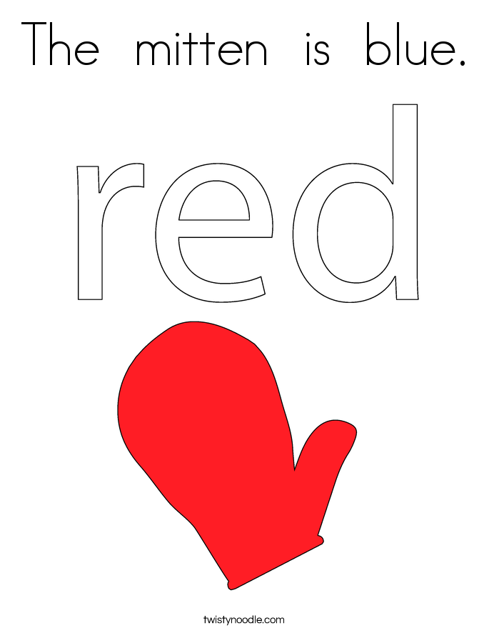 The  mitten  is  blue. Coloring Page
