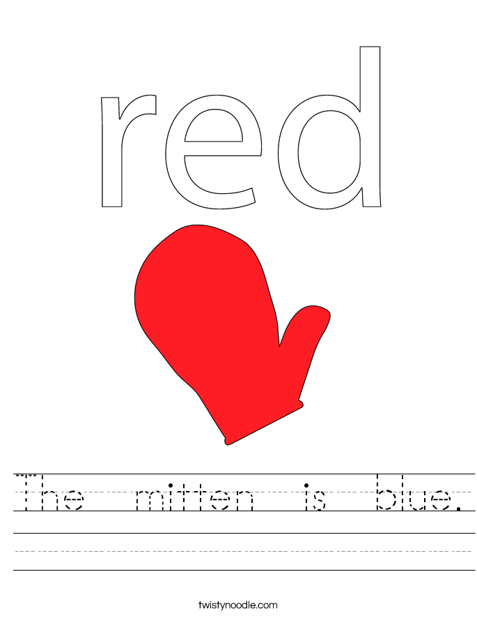 The  mitten  is  blue. Worksheet