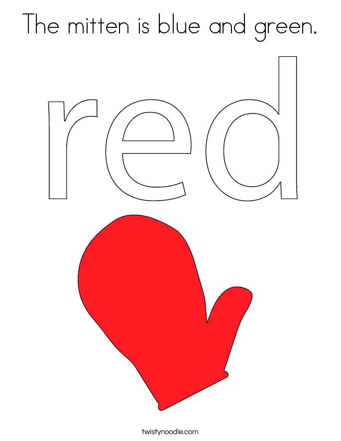 The mitten is blue and green. Coloring Page