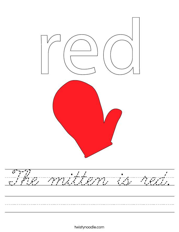 The mitten is red Worksheet - Cursive - Twisty Noodle
