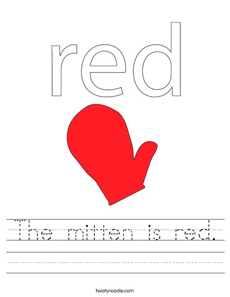 The mitten is red. Worksheet