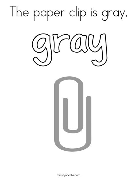 The paper clip is gray. Coloring Page