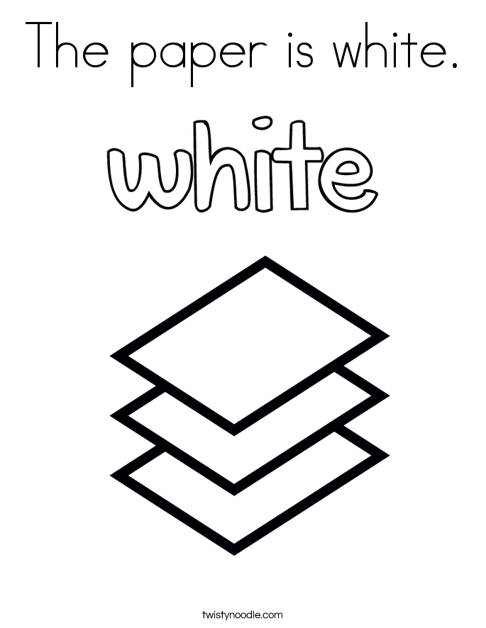The paper is white. Coloring Page