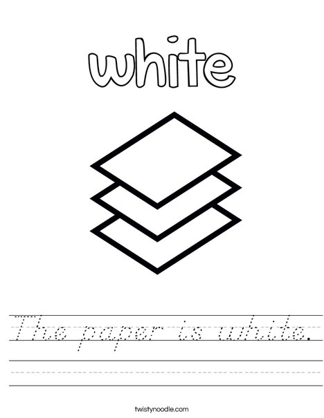 The paper is white. Worksheet