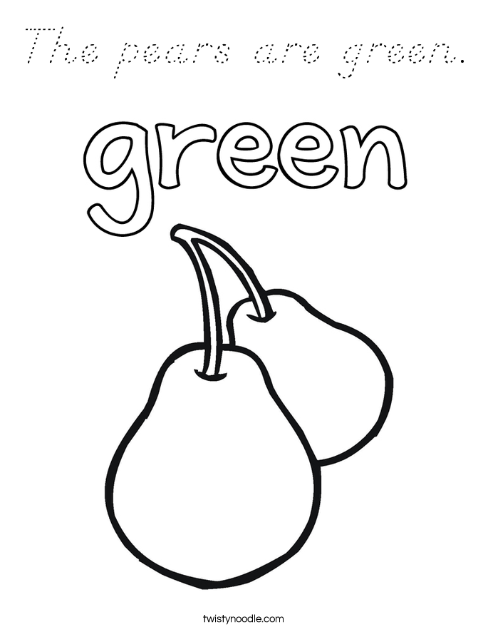The pears are green. Coloring Page