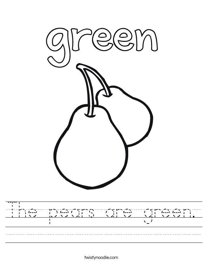 The pears are green. Worksheet