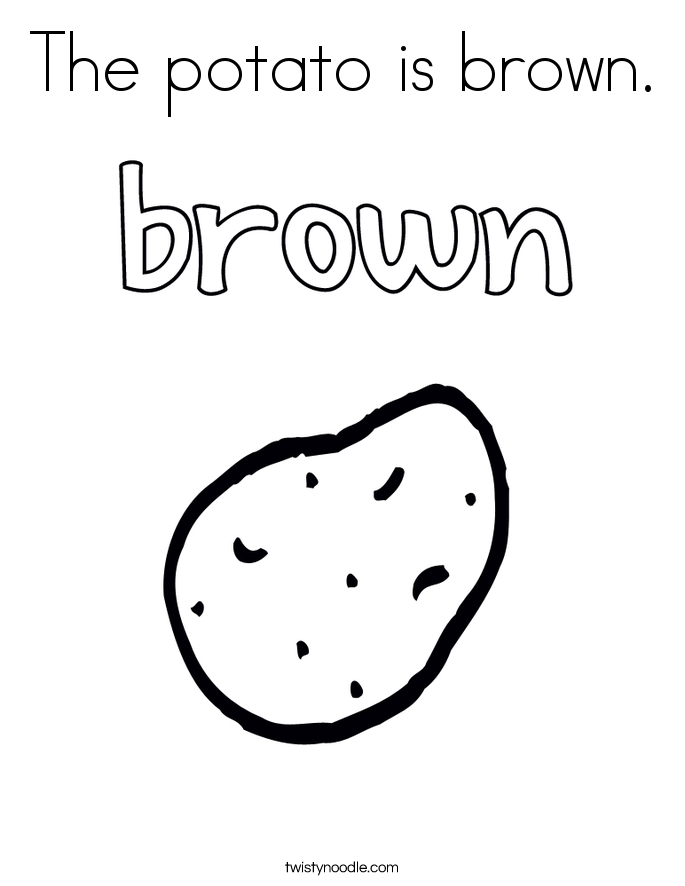 The potato is brown. Coloring Page