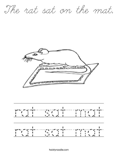 The rat sat on the mat. Coloring Page